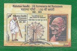 URUGUAY 2019-Hojita Block -150 Años Del Nacimiento De Mahatma Gandhi-TT:Lentes Rueca,Personalidades - Uruguay