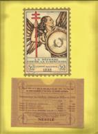 Timbre Antituberculeux Grand Format  Timbre Auto-vitrine à 50 Frs 1936 Allégorie Ailée Symbolisant La Défense Dans Poche - Commemorative Labels