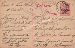 Entier Postal 10ct Militarische Uberwachungsstelle Geprüft - 1917 - D'Auvelais Vers Brandebourg Guben Allemagne - Interi Postali