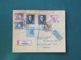 Czechoslovakia 1947 FDC Registered Cover To England - Youth - Grief - Lidice - Saint Adalbert - Czechoslovakia