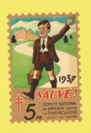 Timbre Antituberculeux Grand Format  Timbre Auto-vitrine à 5 Frs 1937 Garçonnet, La Valise à La Main, Quittant Le Sanato - Commemorative Labels