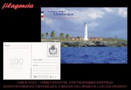 CUBA. ENTEROS POSTALES. TARJETA POSTAL FRANQUEO PREPAGO. 2019 CIENFUEGOS. FARO DE VILLANUEVA. PUNTA DE LOS COLORADOS - Otros