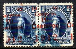03136 Bolivia 92 Selos Fiscal Postal Com Sobrecarga Fortemente Deslocada Par U - Bolivia