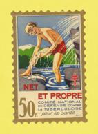 Timbre Antituberculeux Grand Format  Timbre Auto-vitrine à 50 Frs 1938 Garçonnet, Se Lavant. - Commemorative Labels