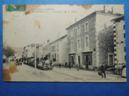 CPA  LA BEGUDE DE MAZENC  LE PETIT TRAIN  A VAPEUR AVENUE DE LA GARE  1910  CP TACHEE - Sonstige Gemeinden