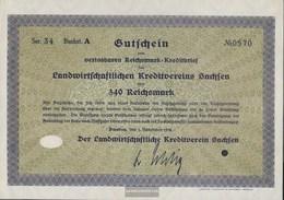 German Empire 340 Reichsmark, Gutschein Very Fine 1932 Landwirts. Kreditverein Saxony - [ 3] 1918-1933 : Weimar Republic