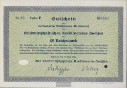 German Empire 20 Reichsmark, Gutschein Very Fine 1934 Landwirts. Kreditverein Saxony - Zonder Classificatie