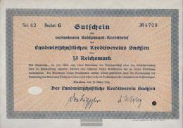 German Empire 15 Reichsmark, Gutschein Very Fine 1934 Landwirts. Kreditverein Saxony - Zonder Classificatie