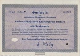 German Empire 850 Reichsmark, Gutschein Druckfrisch 1930 Landwirts. Kreditverein Saxony - 1918-1933: Weimarer Republik
