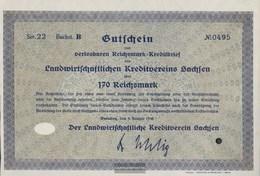 German Empire 170 Reichsmark, Gutschein Druckfrisch 1930 Landwirts. Kreditverein Saxony - 1918-1933: Weimarer Republik