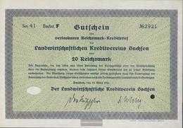 German Empire 20 Reichsmark, Gutschein Druckfrisch 1934 Landwirts. Kreditverein Saxony - [ 4] 1933-1945: Derde Rijk