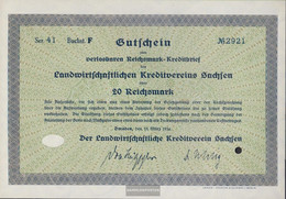 German Empire 20 Reichsmark, Gutschein Druckfrisch 1934 Landwirts. Kreditverein Saxony - [ 4] 1933-1945 : Terzo  Reich