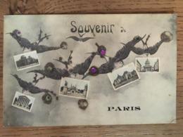 CPA, Souvenir De Paris ,Surréalisme, Hirondelles Portant Chacune Une Vue De Paris ,Ajoutis De Strass/paillettes, 1908 - Souvenir De...