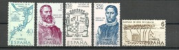España 1968 ** Edifil 1889/1893 ** Mnh Forjadores De America. - 1961-70 Nuevos & Fijasellos