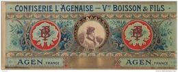 B18- ETIQUETTE - AGEN - CONFISERIE L'AGENAISE - VVE BOISSON & FILS   - 37 X 15 - Etiketten