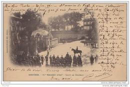 DA14-08) MEZIERES  - LE  91° REGIMENT D'INFANTERIE SALUT AU DRAPEAU - (TRES ANIMÉE CARTE PIONNIERE DE 1899 - 2 SCANS) - Charleville