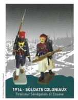 MILITARIA, 1914 SOLDATS COLONIAUX TIRAILLEUR SENEGALAIS ET ZOUAVE ( COLLECTION PHILIPPE LOMBARD ) PAP ENTIER POSTAL 2015 - Militaria
