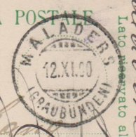 GR   MALADERS - ILANZ - 1882-1906 Wappen, Stehende Helvetia & UPU
