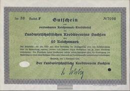 German Empire 20 Reichsmark, Gutschein Druckfrisch 1932 Landwirts. Kreditverein Saxony - 1918-1933: Weimarer Republik