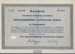 German Empire 10 Reichsmark, Gutschein Very Fine 1934 Landwirts. Kreditverein Saxony - Unclassified