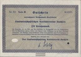 German Empire 170 Reichsmark, Gutschein Very Fine 1932 Landwirts. Kreditverein Saxony - [ 3] 1918-1933 : Weimar Republic