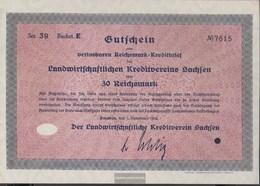 German Empire 30 Reichsmark, Gutschein Druckfrisch 1932 Landwirts. Kreditverein Saxony - 1918-1933: Weimarer Republik