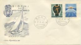 ITALIA - FDC  CAPITOLIUM GRIGIA 1963  - GIOCHI DEL MEDITERRANEO - SPORT - 6. 1946-.. Republic