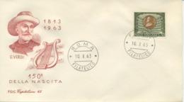 ITALIA - FDC CAPITOLIUM  ROSSA 1963  - GIUSEPPE VERDI - MUSICA - 6. 1946-.. Republic