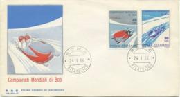 ITALIA - FDC TRE STELLE 1966 - CAMPIONATI MONDIALI DI BOB - SPORT - - 6. 1946-.. Republic