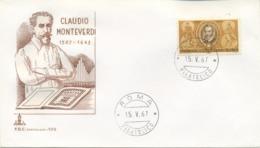 ITALIA - FDC CAPITOLIUM BRUNA 1967 - CLAUDIO MONTEVERDI - MUSICA - 6. 1946-.. Republic