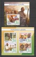 ST081 2016 GUINEE GUINEA FAMOUS PEOPLE MAHATMA GANDHI 1KB+1BL MNH - Mahatma Gandhi