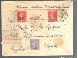 24876 - Semeuse  3 TP Avec Surcharges Pour Le TONKIN - Storia Postale