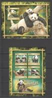 ST108 2016 GUINEE GUINEA ANIMALS BEARS PANDAS 1KB+1BL MNH - Bears