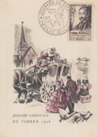 Carte  Maximum  1er  Jour  FRANCE   JOURNEE  Du  TIMBRE   PESSAC   1948 - Tag Der Briefmarke