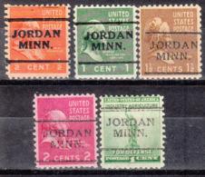 USA Precancel Vorausentwertung Preo, Locals Minnesota, Jordan 701, 5 Diff. - Vereinigte Staaten