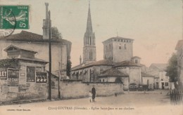 Y26- 33) COUTRAS (GIRONDE)  . EGLISE SAINT JEAN ET SES CLOCHER - (ANIMEE - COULEURS) - France