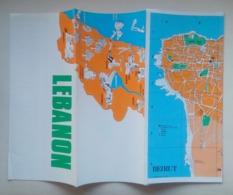 Lebanon Liban Beirut Beyrouth Tourist Map Carte Touristique 70's - Karten