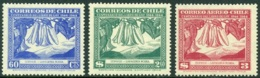 CHILE 1948 GAY's NATURAL HISTORY, THE 3 COPIHUE FLOWER VALUES** (MNH) - Cile