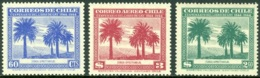 CHILE 1948 GAY's NATURAL HISTORY, THE 3 PALM TREE VALUES** (MNH) - Cile