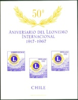 CHILE 1967 LIONS CLUB IMPERF S/S OF 3 VIOLET COLOR VARIETY, UNGUMMED AS ISSUED - Chile