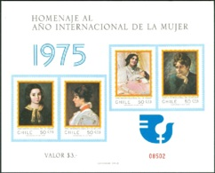 CHILE 1975 INTERNATIONAL WOMEN'S YEAR IMPERF S/S OF 4, WITHOUT GUM AS ISSUED - Chile