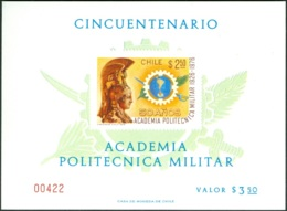 CHILE 1976 MILITARY ACADEMY S/S, WITHOUT GUM AS ISSUED - Chile