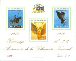 CHILE 1976 MILITARY GOVERNMENT ANNIVERSARY S/S OF 3, WITHOUT GUM AS ISSUED - Chile