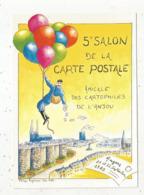 Cp, Bourses& Salons De Collections, 5 E Salon De La Carte Postale, ANGERS ,1985, Aquarelle De P. Augereau - Bolsas Y Salón Para Coleccionistas