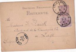 ALLEMAGNE 1881   ENTIER POSTAL/GANZSACHE/POSTAL STATIONERY CARTE DE CÖLN - Deutschland