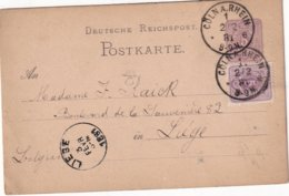 ALLEMAGNE 1881   ENTIER POSTAL/GANZSACHE/POSTAL STATIONERY CARTE DE CÖLN - Enteros Postales