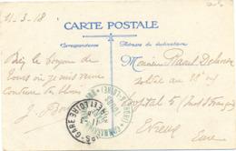 GUERRE 14-18  COMMISSION MILITAIRE GARE DE TOURS * (INDRE-ET-LOIRE) *  TàD TOURS-GARE  Du 11-3-18 - Guerre De 1914-18