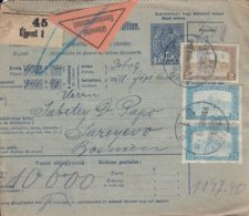 Bulletin D'expédition De UJPEST Du 26.8.1918 Adressé à Sarajevo - Paketmarken