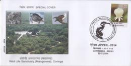 India  2014  Turtle  Eagle  Caracal  Big Cat  Coringa Wild Life Sanctuary  Special Cover  #  23982  D  Indien Inde India - Turtles