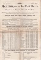 HORAIRE édité Par Le Petit Havre - 1930 / Chemins De Fer De L'Etat Et Du Nord - Europe